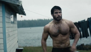 Henry Cavill as a shirtless Clark Kent