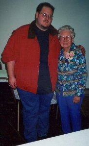Some people say I look like Kevin Smith in this photo. Me and my Great Aunt a few years ago.