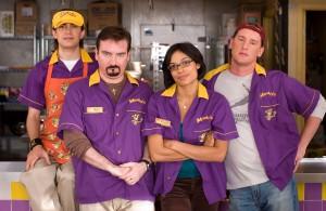 Trevor Fehrman, Brian O'Halloran, Rosario Dawson, & Jeff Anderson in 'Clerks II'