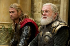 Thor and his father Odin sitting around contemplating life.
