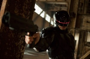 Joel Kinnaman looking pretty badass in the revamped RoboCop garb