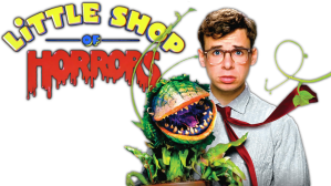 Rick Moranis and Audrey II posing for a poster for 'Little Shop of Horrors'